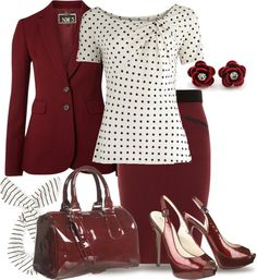 """Blood Red & Dots for Office"" by yasminasdream ❤ liked on Polyvore"