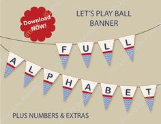 Baby Shower Banner - PRINTABLE Baby Shower Banner - FULL ALPHABET- M2M Let's Play Ball Invitations -Sports-Chevron Party Supplies Invitation