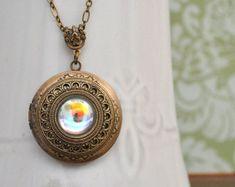 locket necklace - SILVER AURORA - antiqued brass locket necklace with Swarovski ab effect crystal cab