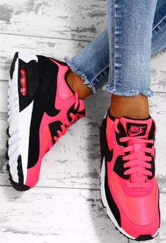 43c6f4445f8fde Nike Air Max 90 Pink and Black Trainers - UK 3
