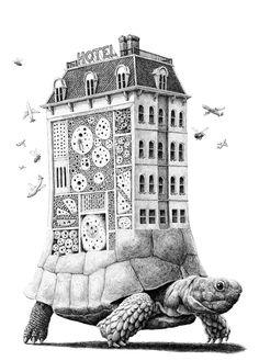 Tortoise Hotel. Surreal Animal Drawings Pen on Paper. By Redmer Hoekstra.