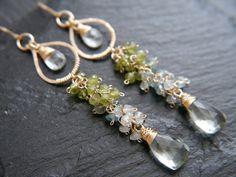 Gold Leaf Earrings Wedding Floral Organic Romantic Turquoise Earrings Flower 14K Gold Filled Earrings Amethyst Earrings Bohemian