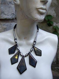 Chrome Futuristic Triangular Necklace  c 1990. $65.00, via Etsy.