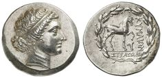 Aeolis, cyme, silver tetradrachm, 2. Jhd. BC (to 190), Aversum: head the youthful Amazon cyme to the right, the hair is held by a binder, reverse: horse based to the right, to feet oilcan, in wreath, SNG Cop. 104, BMC 17. 111. 74, Sear 4183, from Aulock 1639, superb specimen, 16. 47 g, extremly fine to uncirculated, maybe from the finding from El-Aweiniye (1941)    Dealer  Auction house Ulrich Felzmann    Auction  Minimum Bid:  500.00EUR