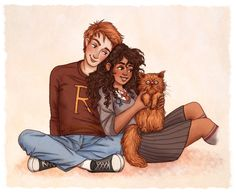 ron and hermione by susanne draws