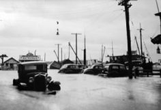 SUFFOLK COUNTY HISTORICAL SOCIETY COURTESY PHOTO   The Main Street fish markets in Greenport after the 1938 hurricane.