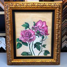 Canvas print custom framed with a linen liner and ornate gold frame! #art #pictureframing #customframing #denver #colorado #canvas