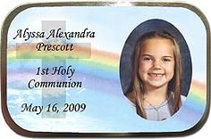 1st Holy Communion Party Favors Idea - Rainbow Cross Photo Mint Tins! More photo mint tins at http://www.photo-party-favors.com/chocolate-photo-favors.html