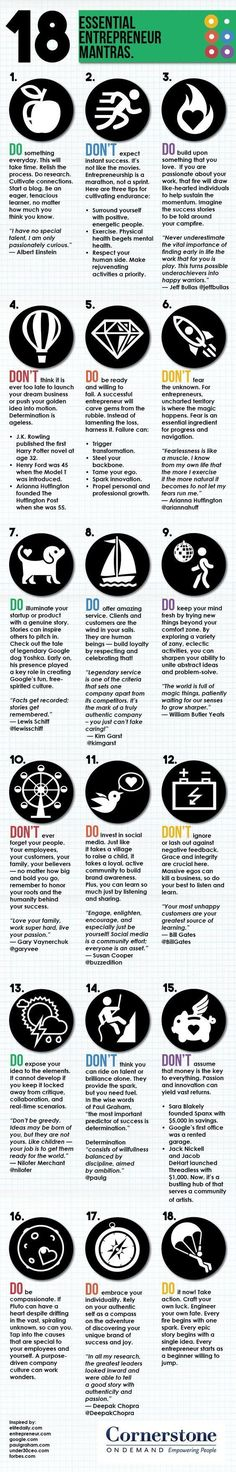 18 Essential Entrepreneur Mantras #infographic #Business #Entrepreneur (scheduled via http://www.tailwindapp.com)