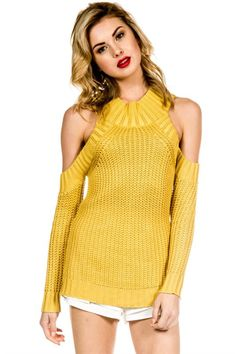 Mustard Shoulder High Neck Sweater