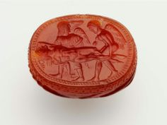 Scarab with two winged figures carrying the body of a dead warrior -  Italic, Etruscan, Late Archaic Period, early 5th century B.C.