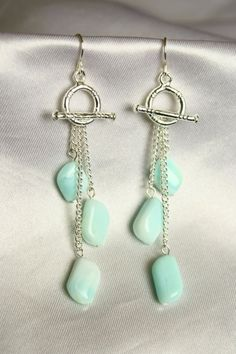 Toggle Dangle Earrings with Angelite Stone Beads by ConceptAna - love the creati. - Toggle Dangle Earrings with Angelite Stone Beads by ConceptAna – love the creative use of the tog - Wire Jewelry, Jewelry Crafts, Beaded Jewelry, Handmade Jewelry, Jewlery, Jewelry Ideas, Jewellery Box, Jewelry Trends, Crystal Jewelry