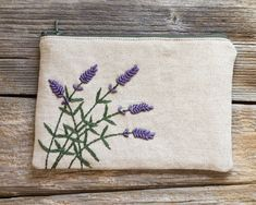 Hand embroidered Lavender Flowers on Natural Linen by Yanettine