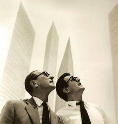 Arquitecto Luis Barragán y artista Mathias Goeritz. En las Torres de Satélite. Mexico. D.F.