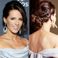Beckinsale's low chignon was set off by intricate fishtail twists and sweeping layers.