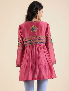 Living Coral Hand Embroidered Silk Chanderi Tunic with Mirror Work Embroidery Patterns, Hand Embroidery, Tunics Online, Shopping Coupons, Mirror Work, Online Work, Embroidered Silk, Kurti, Bell Sleeve Top