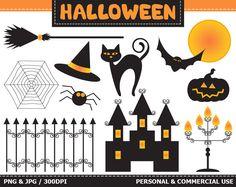 70% OFF SALE Halloween Digital Clip ArtCat, Moon, Bat, Fence, Spider+web, Pumpkin, Light. Commercial & Personal use,Instant downloa