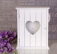 Shabby Chic White Wooden Key Box Cabinet Cupboard KEYS Heart Shaped Front #25  | eBay