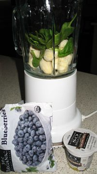 Yummy Smoothie with Spinach    1-2 ripe bananas   a handful of spinach leaves   about 1/2 cup frozen blueberries   any other fruit you if you want to add, fresh or frozen   half of a small yogurt  dash of liquid, milk, juice, nut milk, etc  Blend all ingredients & enjoy.   www.surefoodsliving.com