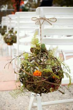 Isle bouquets, using twig balls. Could easily be used for any season.
