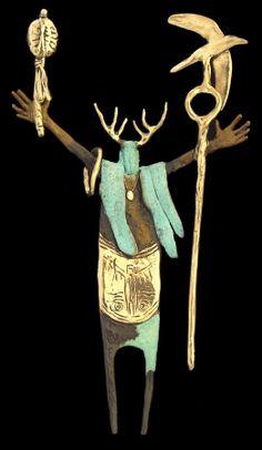 Bill Worrell, pin / pendant, bronze, silver, gold