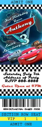 Disney Cars 2 Birthday Ticket