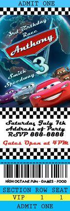 Disney Cars 2 Birthday Ticket