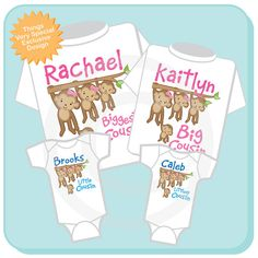 This set of four tee shirts and Onesies is for the family of four cousin children. This monkey themed set is for two big girl cousins and two little boy baby cousins with the titles of Biggest cousin, big cousin, little cousin and littlest cousin.