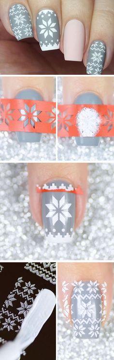 Pretty Christmas Sweater   Cute Holiday Nail Art Ideas Christmas Design
