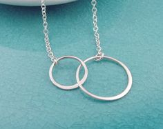 Sisters Necklace Double Circles Necklace Two by JewelleryJKW