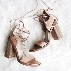 """Lace up heels. They're cute - dusty pink's been my colour for years, goes with everything, plus the heel looks comfortable & """"day-ish"""" !"""