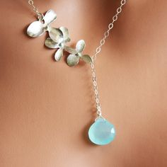 Items similar to Sterling Silver Orchid Trio, Blue Chalcedony Gemstone Lariat-Style Necklace on Etsy