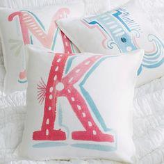 Alphabet Linen Pillow Cover | PBteen