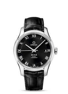 #OMEGA #Watches: #DeVille De Ville Omega Co-Axial 41 mm - Steel on leather strap - 431.13.41.21.01.001