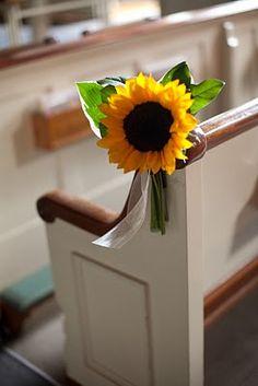 Simple sunflower pew decor ~ #wedding #aisle #pew decor ideas - spotted by www.huntshamcourt.co.uk