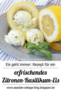 Rezept für ein erfrischendes Zitronen-Basilikum-Eis | www.seaside-cottage-blog.blogspot.de