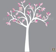 Owl decal Owl tree wall sticker Pink & Grey par StickItDecalDesigns