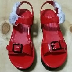 Wedge sandal Women's Red wedges sandal Material: synthetic Measurements: 2 inches heel Width: Medium C Label Shoes Wedges