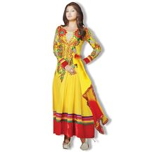Shoponbit Yellow Color Multi-embroidered Anarkali Suit