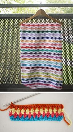 Diamond stitch blanket, free tutorial from Happy In Red.    I like the white between each row.
