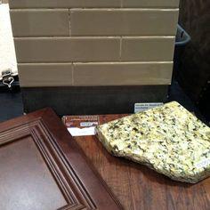 Kitchen countertop, cabinets, backsplash and hardwood