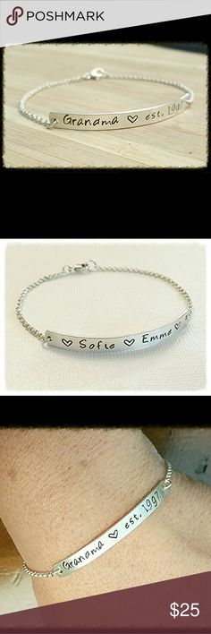 Sterling Silver Name Bar ID Bracelet Hand Stamped This bracelet is handmade by me.  Sterling Silver Name Bar Bracelet. Personalize your bracelet with Names, Initials, Date or small quote (up to 18 character and spaces will fit) Jewelry Bracelets