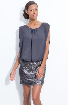 Aidan by Aidan Mattox Faux Two Piece Chiffon & Sequin Dress available at #Nordstrom