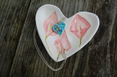 Ceramic Necklace in Heart Shaped Bowl Gift Idea by REDceramics, £14.50