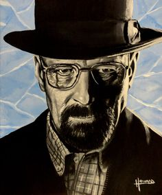 This is a print/reproduction of a painting I made this year - it is of Walter White as his alter ego Heisenberg, of the hit show Breaking Bad - This piece is in a set of 5 Breaking Bad pieces I have done. It is printed on a heavy paper stock and is x Art Breaking Bad, Breaking Bad Series, Tim Burton Style, Greys Anatomy Memes, Heisenberg, Walter White, Portraits, Old Tv Shows, Illustrations