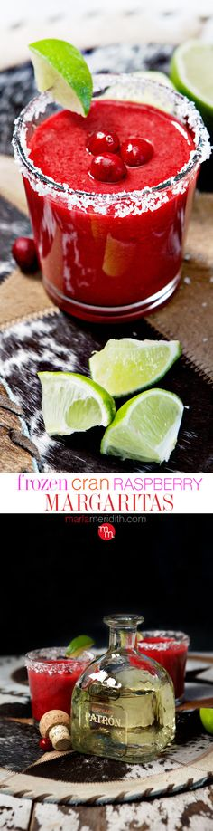 Frozen Cran-Raspberry Margaritas | The ULTIMATE happy hour #cocktail MarlaMeridith.com ( @MarlaMeridith )