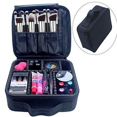 Portable Makeup Case Chomeiu 9 Inch Makeup Organizer EVA Makeup Artist Storage for Cosmetics, Makeup Brush, Jewelry, Toiletry, Travel Accessories with Removable Adjustable Divider (Black) * Click image for more details. (This is an affiliate link) Kesha Makeup, Zoella Makeup, Denitslava Makeup, Monolid Makeup, Sephora Makeup, Makeup Brushes, Makeup Tools, Burgendy Makeup, Maroon Makeup