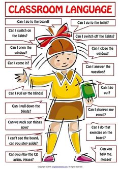 The language spoken in the lessons is English. Here are some phrases you should know, understand, or be able to use. # learn english words classroom Classroom Language For Teachers and Students of English - ESLBuzz Learning English Learning English For Kids, Teaching English Grammar, English Lessons For Kids, English Worksheets For Kids, English Writing Skills, Kids English, Learn English Words, English Phrases, English Language Learning