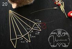 Gör Handantes himmel steg för steg Straw Projects, Straw Crafts, Diy Straw, Diy Projects To Try, Straw Decorations, Straw Art, Geometric Sculpture, Art Template, Diy Christmas Tree