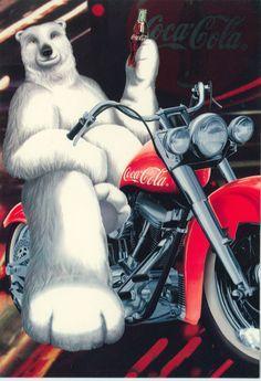 New 2 Unused Coca Cola Polar Bear on Motorcycle Postcards